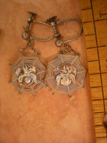 Vintage Deco SPider and Web Earrings