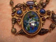 VIntage Art Nouveau Necklace Czech art glass and brass peacock colors