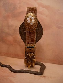 Antique Opal Victorian SLide Bracelet Mesh with tassels