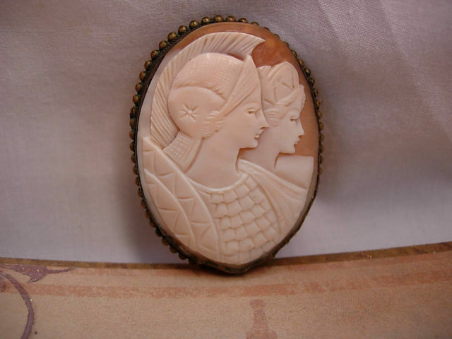 Antique Athena Cameo brooch  pendant Caved Shell one of a kind