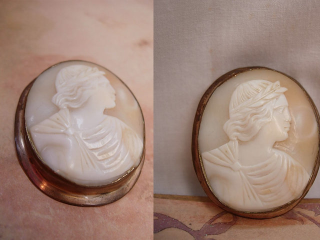 Large Antique Cameo BRooch of Apollo Victorian with laurel wreath
