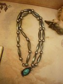 Sterling Indian Bear Claw Necklace with large beads and turquoise talisman pendant