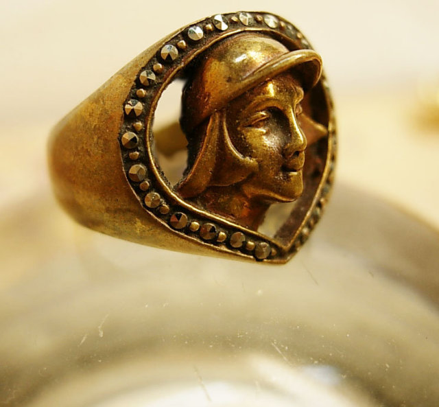 Vintage deco Mercury marcasite Ring Winged God Hermes diety