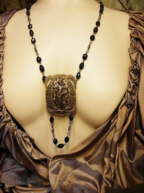 Nude Snake Charmer Necklace nouveau serpents and goddess with black faceted chain