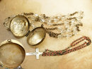 Vintage Rosary and Case locket necklace miniature childs inside Made in czechoslovakia