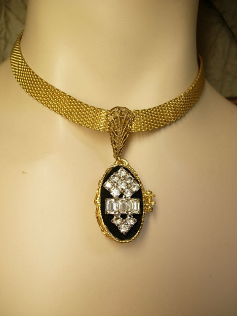 Vintage victorian mesh collar locket necklace brilliant rhinestones with deco portrait inside