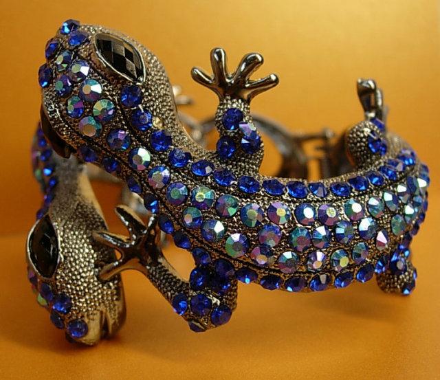 Brilliant Lizard rhinestone bracelet over 100 aurora borealis rhinestones PURE glitz