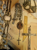 VIntage GLass rosary and renaissance Religious relief necklace fancy chain Roma Crucifix