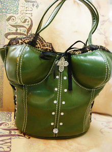 Sexy Rhinestone Corset Bustier purse with goth religious medal and straps