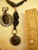 1915 3-D Liberty Head watch fob necklace on black silk ribbon sterling medallion