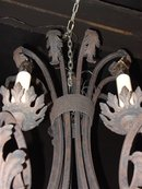 French Cast Iron C-Scroll Acanthus Leaf Chandelier