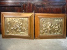 Pair of 19th Century Brass Repousse Plaques with Walnut Frames
