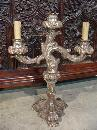 Pair of Antique Silverleaf Wooden Table Candleabras