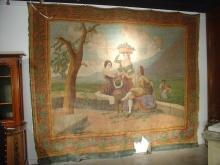 Large Antique Panel Painting on Canvas-Spain, 19th C