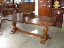 Antique Walnut Wood Italian Trestle Table