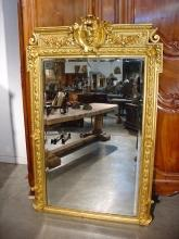 Antique Louis XVI Style Giltwood Mirror from France