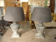 Pair of Antique Stone Lamps from France