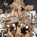 A Large 'Acanthus Leaf' Iron Chandelier from France