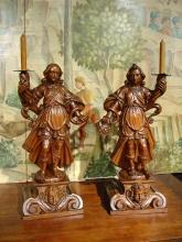 Rare 17th Century Fruitwood Torcheres