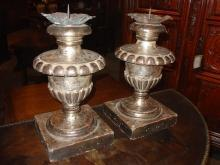 A Pair of Reproduction Italian Silver Leafed, Gadrooned Lobed Urn Shaped Candlestick Holders