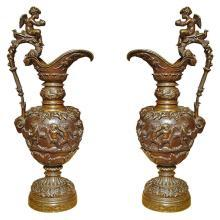 Pair of Antique French Patinated Bronze Ewers
