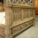 A Magnificent Fully Carved Antique French Gothic Bed-Stripped Oak: France, Circa 1870