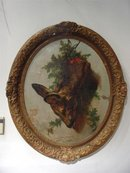 Signed 18th C. Oval Hunting Painting in Period Louis XV Frame