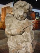 Partial Glaze Statue of Boy with Violin-Provence