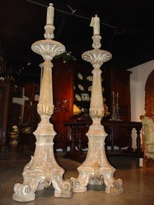 Pair of Tall Sculpted Oak Floor Torcheres from France