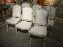 Set of Six Painted Antique Louis XV Style Side Chairs