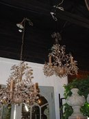 Pair of French Metal Chandeliers with Scrolling Foliate Vinework 2