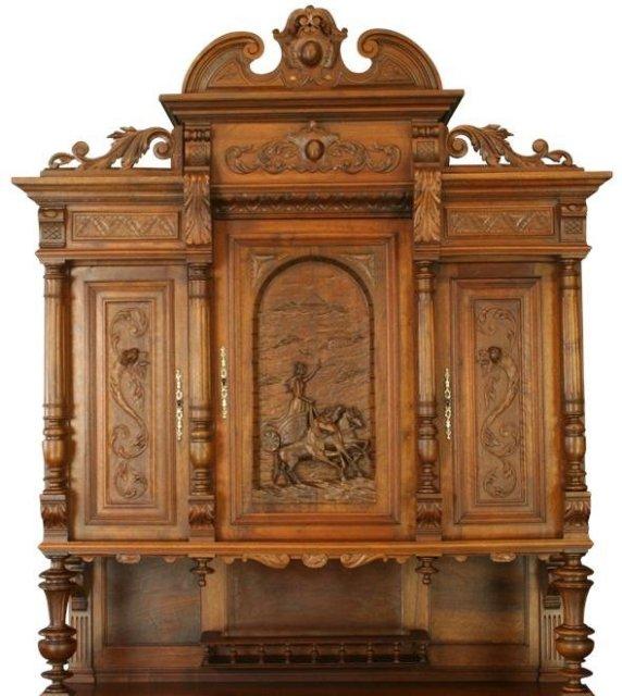 Antique French Renaissance Buffet Server Chariot Horses