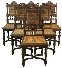 Antique French Renaissance Henry II Style Dining Chairs Carved Oak Turned Legs