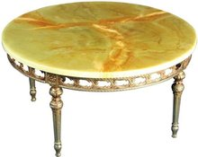 Vintage Large, Round French Country Coffee Table, Ornate Rococo Metal Base