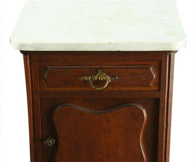 Vintage 1930 French Country Oak Nightstand/Accent Table, Louis XV, Marble Top
