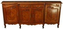 Vintage Carved Cherry Louis XV French Country Server Sideboard Bombe Curves