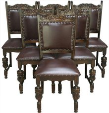 Vintage French Oak Dining Chairs Heavily Carved circa 1960 Set of 6