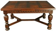 Heavily Carved Oak Vintage French Renaissance Dining Table Parquetry Pattern Top