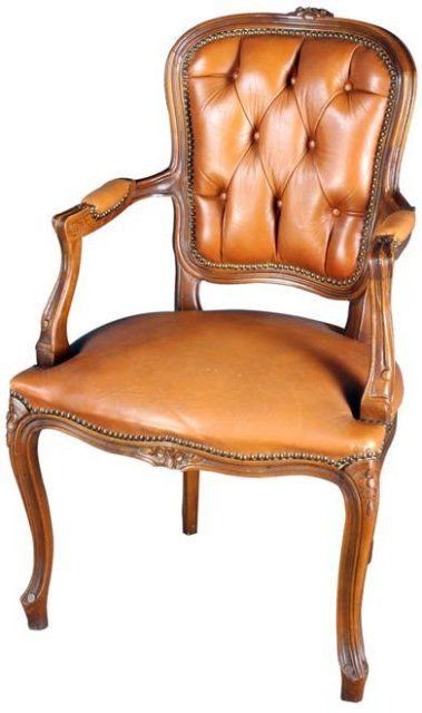Vintage French Country Louix XV Arm Chair in Walnut & Brown Leather, circa 1950