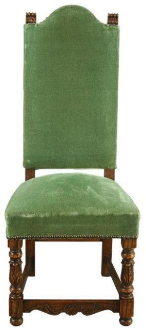 Set of 6 Vintage French Renaissance Dining Chairs in Green Velour Upholstery