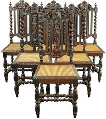 Set 6 Antique French Renaissance Hunting Dining Chairs Barley Twist Carved Oak