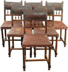 Set of 6 Antique French Renaissance Walnut Dining Chairs with Embossed Leather