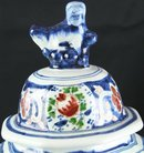 Antique Folk Art Delftware Ginger Jar Vase, Hand Painted with Grinning Lion