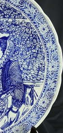 Vintage Blue Delft Plate of Peter Paul Rubens & Wife in the Honeysuckle Bower