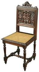 Set of 4 Ornately Carved Antique French Renaissance Henry II Oak Dining Chairs