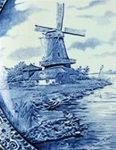 Large Vintage Blue Delft Charger Plate showing a Dutch Windmill on a Canal