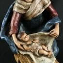 Antique French Chalkware Sculpture of Mother Madonna Swaddling the Christ Child