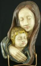 Vintage French Chalk Madonna  Child Wall Sculpture Art