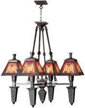 Dale Tiffany Mission Chandelier, Mica Bronze, Hand-Rolled Art Glass, 4-Light