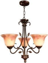 Dale Tiffany 3-Light Chandelier, Hand-Painted Art Glass, Floral/Leaf Motif
